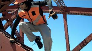 Danger Man jumping from the Broadway Bridge